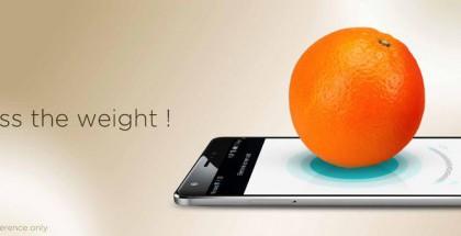 Huawei Mate S:n paineentunnistava näyttö toimii vaikka hedelmävaakana.