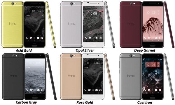HTC One A9 ja kuusi värivaihtoehtoa @evleaksin kuvassa