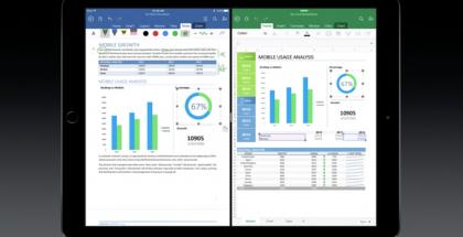 iPad Pron moniajomahdollisuuksia esiteltiin Microsoftin Office-sovelluksilla.