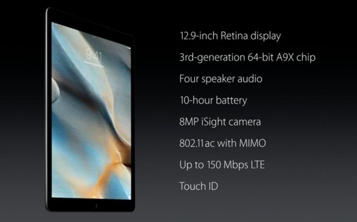iPad Pron teknisiä ominaisuuksia