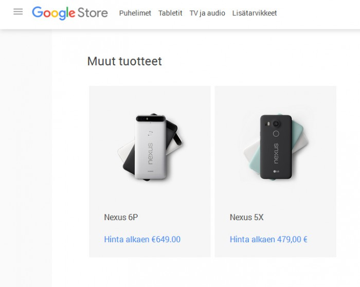 Nexus 5X hinta Suomessa paljastui Google Storesta