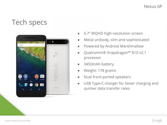 Nexus 6P:n tekniset tiedot