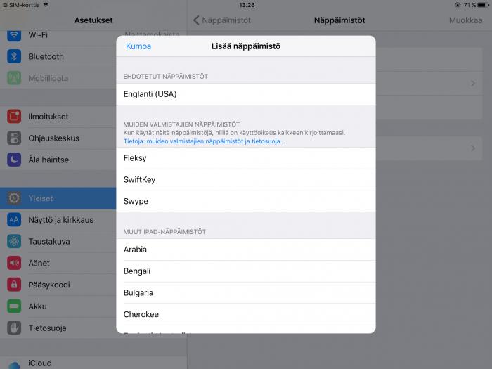 Näin lisätään näppäimistöjä iOS-laitteella.
