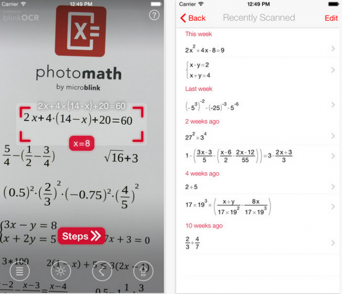 PhotoMathilla ratkaiset laskuja kätevästi älypuhelimen avulla