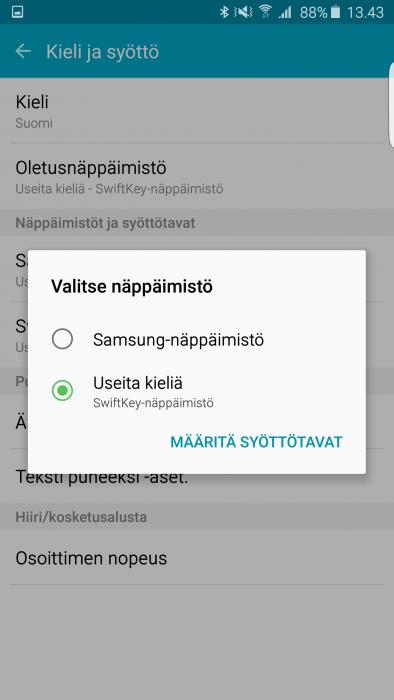 Oletusnäppäimistön valinta Samsungin Android-puhelimella.