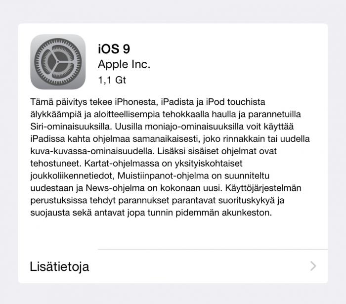 iOS 9:n päivityspaketti vaatii iPad mini 2:lla 1,1 gigatavua vapaata tallennustilaa.