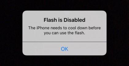 Varoitusviesti ylikuumentuneessa iPhone 6s Plussassa