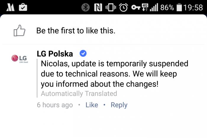 LG G4:n päivitykset keskeytettiin Puolassa