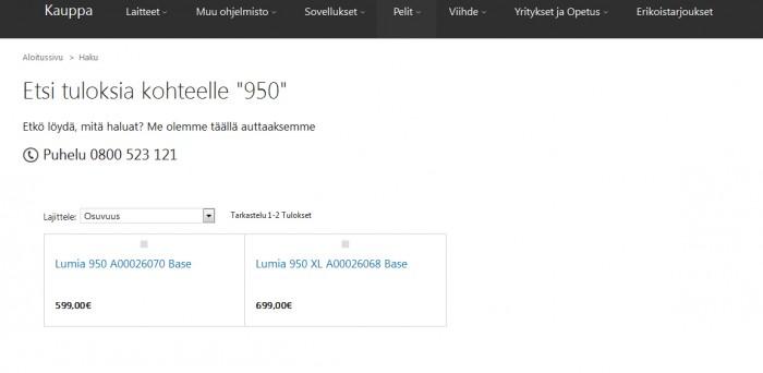 Lumia 950 ja Lumia 950 XL hinnat euroina