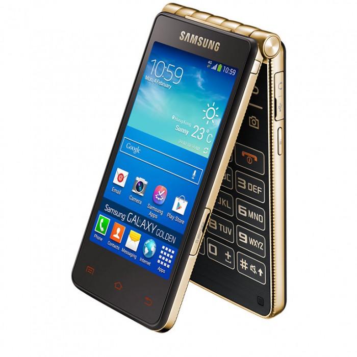 Vuonna 2013 Aasiassa julkaistu kahden näytön simpukkapuhelin Samsung Galaxy Golden.