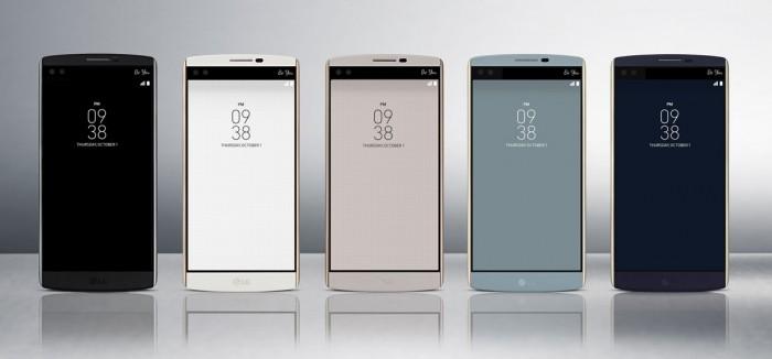 LG V10:n etupuolelta löytyy kaksi näyttöä ja kaksi kameraa