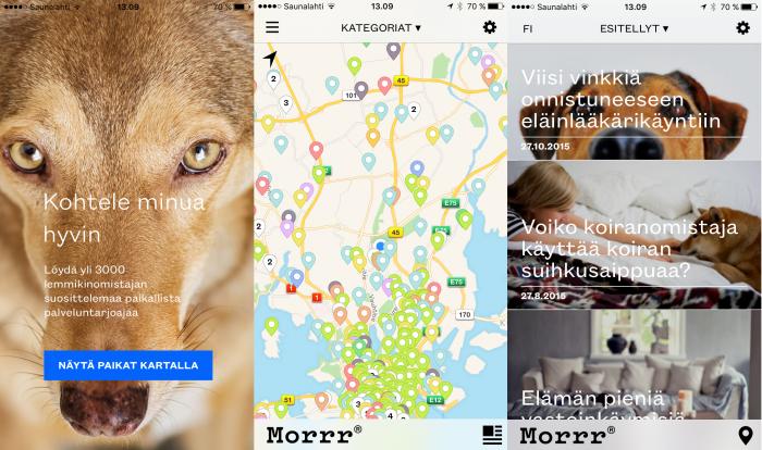 Kuvakaappauksia Morrrin iOS-sovelluksesta