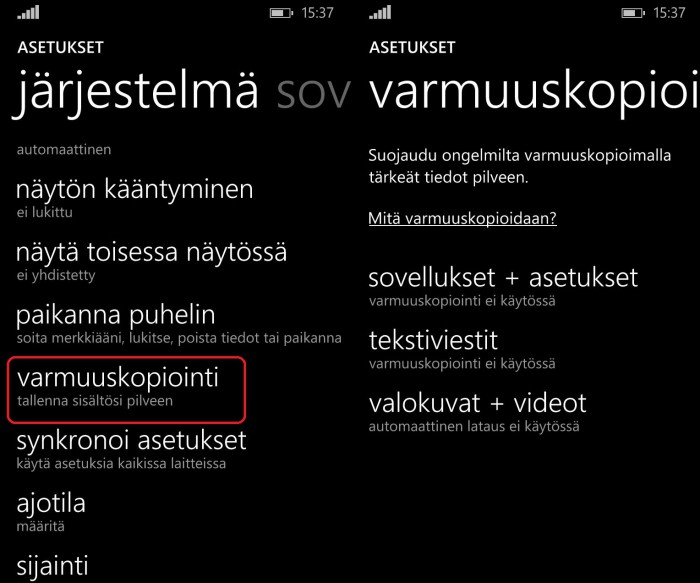 Windows Phone varmuuskopiointi