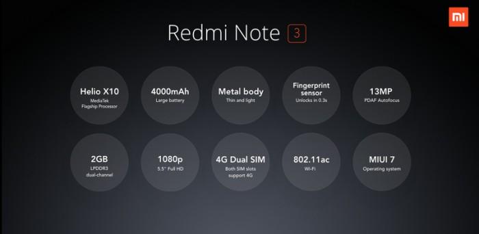 Uuden Redmi Note 3:n tekniset tiedot