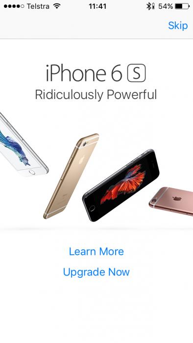 iPhone-käyttäjät yllättänyt iPhone 6s -mainos puhelimen ruudulla