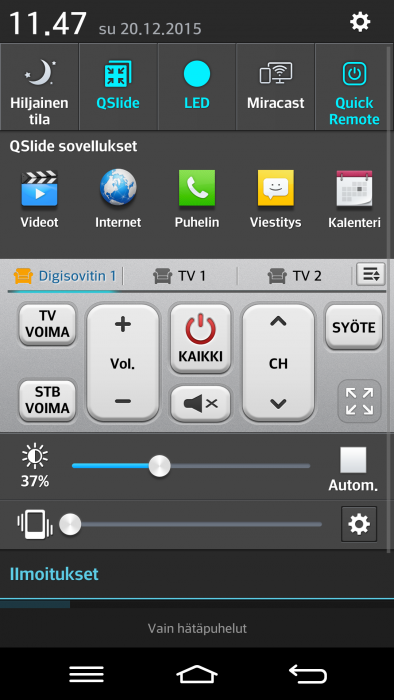 LG:n Quick Remoten voi sijoittaa myös ilmoitusvalikkoon