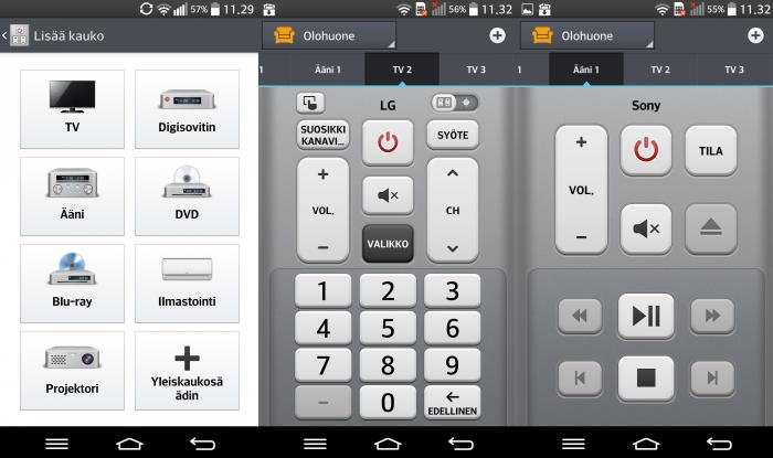 Quick Remoten avulla puhelin toimii tuhansien eri laitteiden kaukosäätimenä. Kaukosäätimen ulkoasu vaihtelee luonnollisesti sen mukaan, minkä laitteen kaukosäädin se on