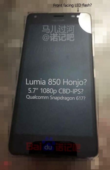 Väitetty Lumia 850 vuotokuvassa