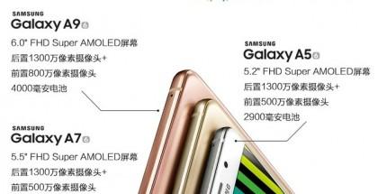 Oletettu Samsung Galaxy A9 muiden A-sarjalaisten rinnalla