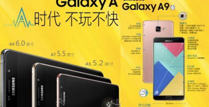 Samsung Galaxy A9 uusien A5- ja A7-mallien rinnalla.