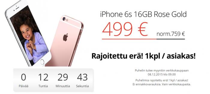 Jimm's pudotti iPhone 6s:n hintaa reilulla kädellä