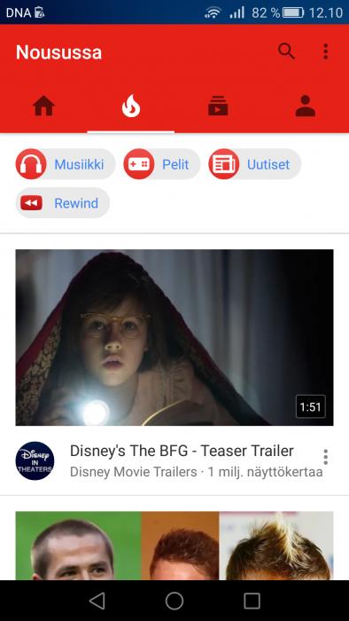 Nousussa-välilehti YouTube-sovelluksessa