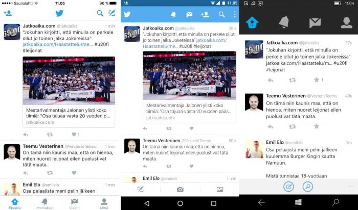 Twitter-sovelluksien ulkonäkö eroaa jonkin verran eri alustoilla. Kokonaisuudessaan Twitterin Windows-versio on toiminnaltaan heikoin
