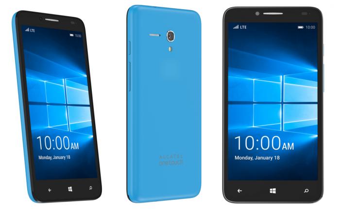Alcatel OneTouch Fierce XL Windows 10 Mobilella varustettuna