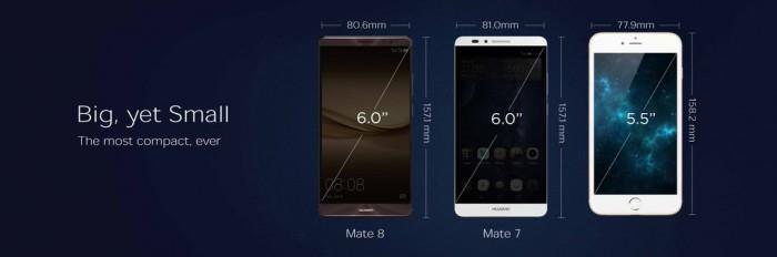 Mate 8 on isommasta näytöstään huolimatta hyvin lähellä iPhone 6s Plussan kokoa.