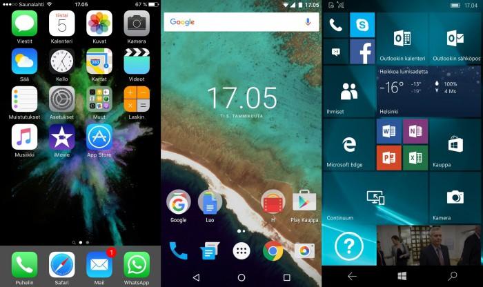 Käyttöjärjestelmien aloitusnäytöt eroavat toisistaan melko paljon. Vasemmalta oikealle: iOS 9.2, Android 6.0 Marshmallow, Windows 10 Mobile