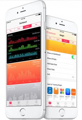 Terveys-sovellus saa iOS 9.3:ssa myös Apple Watchin aktiivisuustiedot (kuvassa mustalla pohjalla) sekä alhaalla näkyviä suosituksia asennettavista sovelluksista