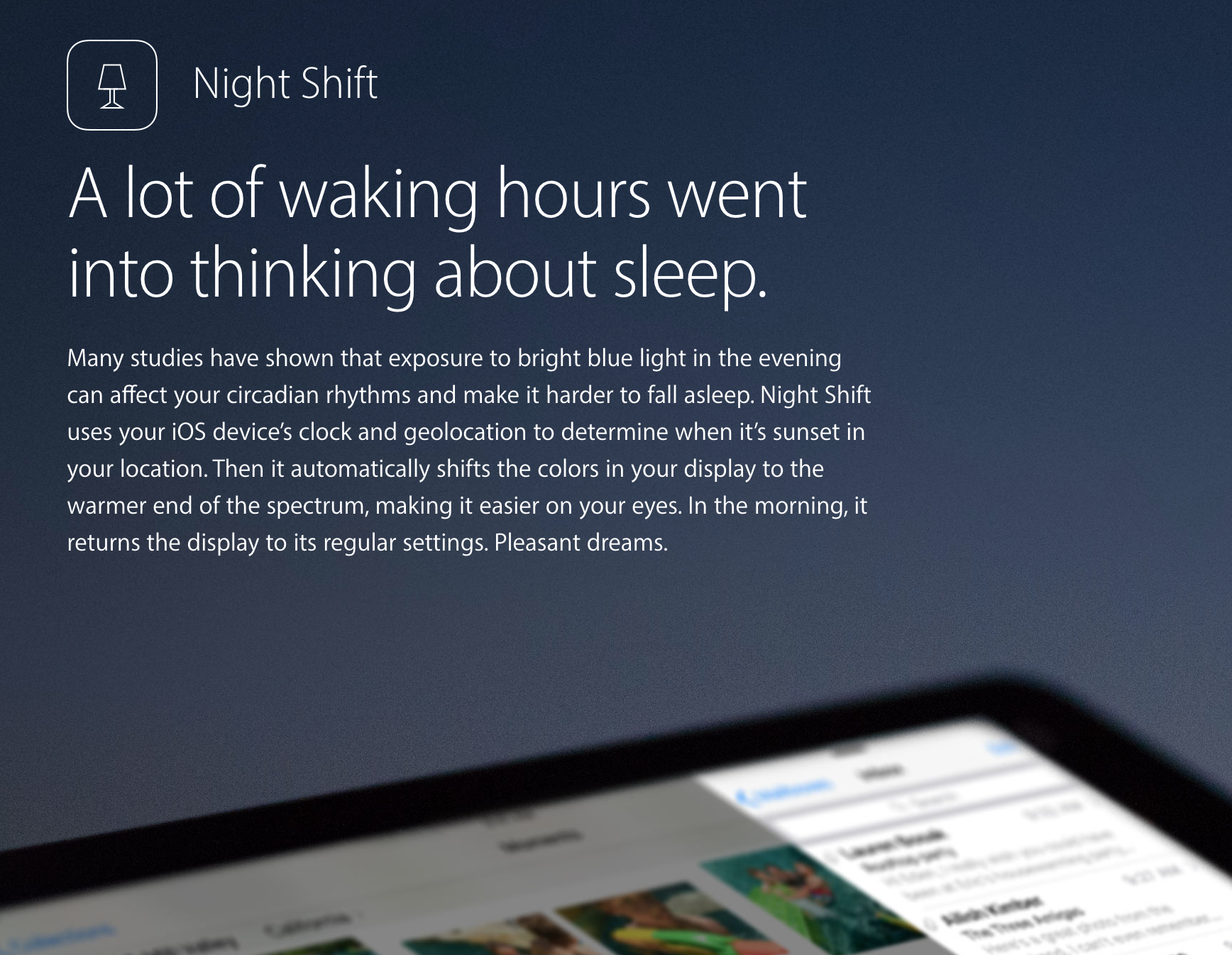 Night Shift lempeyttää iOS 9.3:ssa näytön värejä kellonajan mukaan