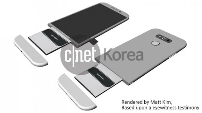 CNet Korean julkaisema havainnekuva tietolähteen antamista LG G5 -rakennetiedoista