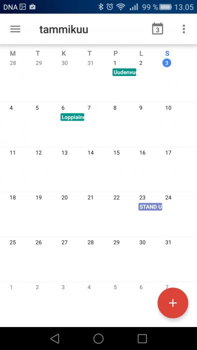 Oletusasetuksena Google-kalenterin kuukausinäkymä on viikkonumeroton