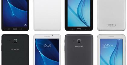 Evan Blassin jakamassa kuvassa vasemmalla on 2x Galaxy Tab A (2016) ja oikealla 2 x Galaxy Tab E 7.0.