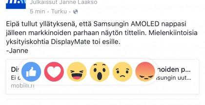 Facebookin uudet Reaktiot, viisi uutta mahdollisuutta perinteisen peukun rinnalla.