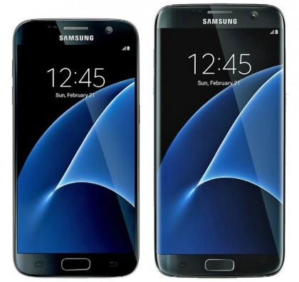 Galaxy S7 (vasemmalla) ja Galaxy S7 edge aiemmassa kuvassa