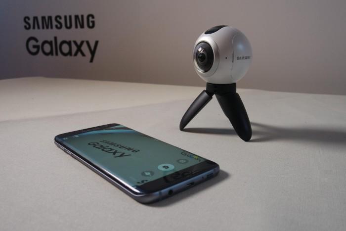 Gear360:n kuvaama sisältö näkyy Galaxy S7 edge -puhelimella
