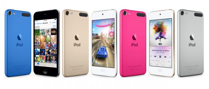 iPod touchin värivalikoimaan kuuluvat sininen, harmaa, kulta, pinkki ja hopea.