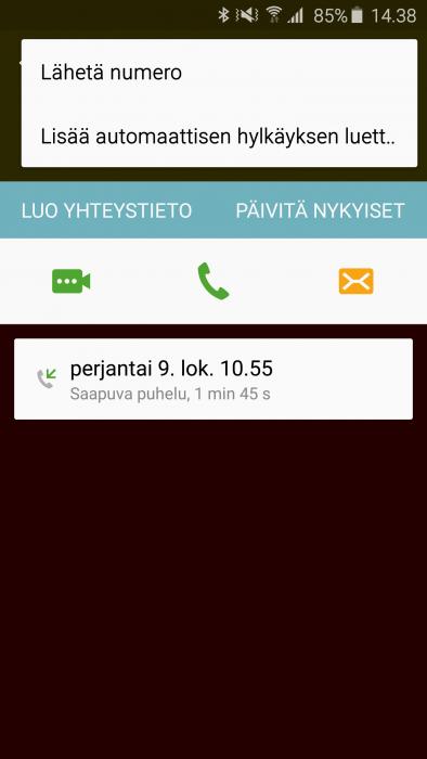 Estetty numero Samsung