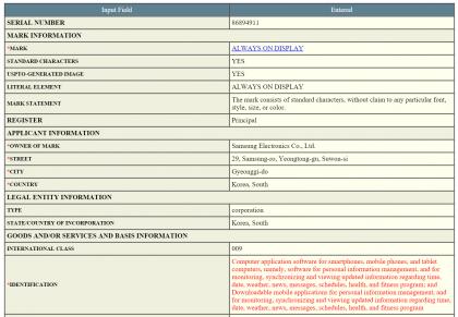 Samsungin tavaramerkkihakemus USPTO:lle