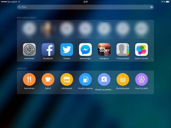 iOS 9:n Lähellä-ehdotukset toimivat nyt myös Suomessa.