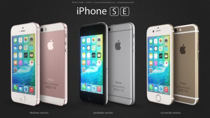 Martin Hajekin renderöinti näyttää erilaisia vaihtoehtoja huhutun iPhone SE -mallin ulkonäölle.