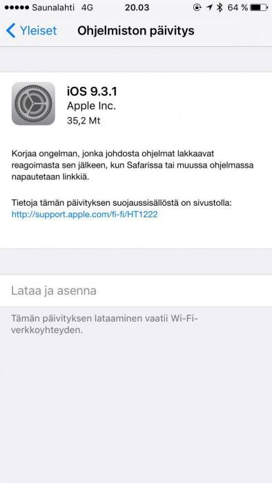 iOS 9.3.1 -päivitys keskittyy korjaamaan käyttäjiä vaivanneen linkkibugin.
