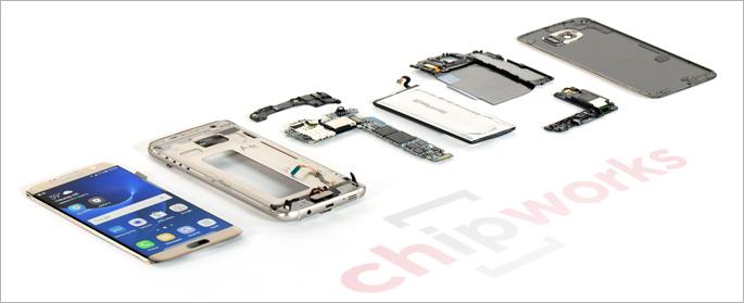 Galaxy S7 edge purettuna. Kuvat: Chipworks.