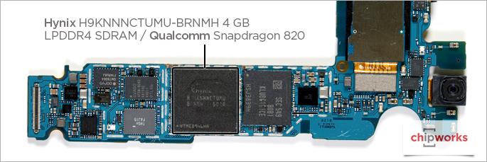 Galaxy S7 edgen emolevyllä sijaitseva Snapdragon 820 -järjestelmäpiiri ja sen päällä Hynixin RAM-muisti.