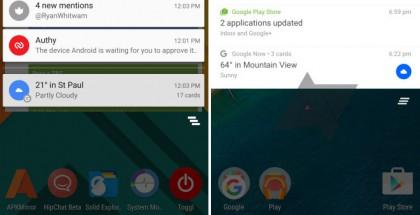 Vasemmalla nykyinen yläpalkki, oikealla Android Policen mukaelma Android N:n nykytilasta.