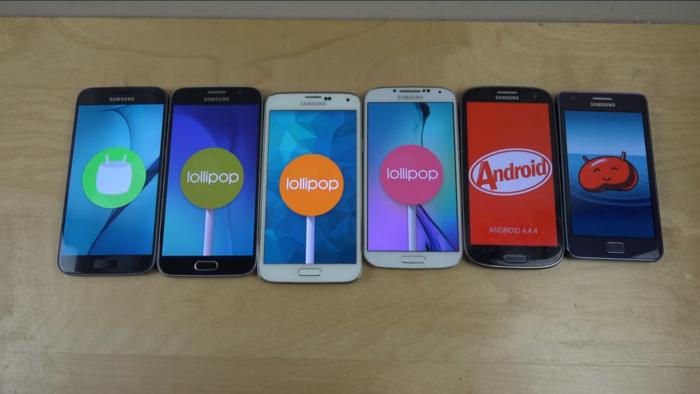Galaxy S -sarjan perusmallit alkuperäistä Galaxy S:ää lukuun ottamatta.