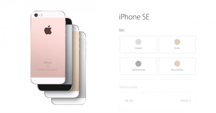 iPhone SE Applen omassa verkkokaupassa.