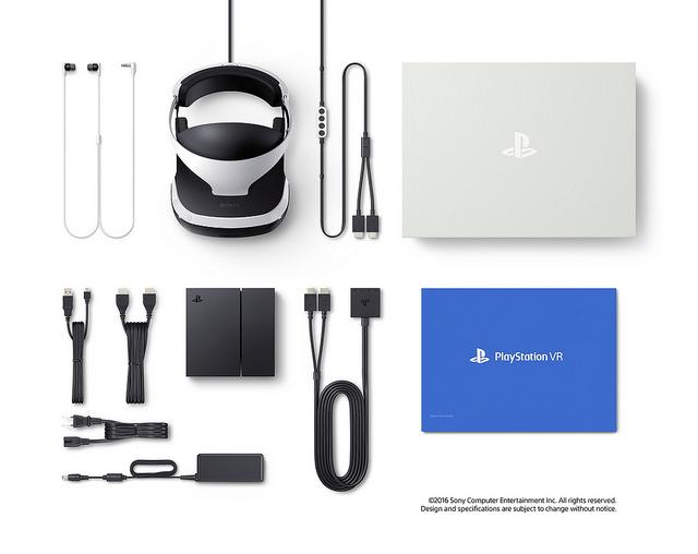 PlayStation VR -myyntipakkauksen koko sisältö.